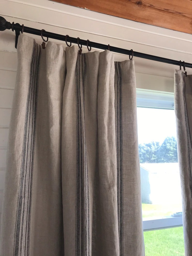 105 Inch Curtains Luxury Linen Striped Curtains Window Treatments Drape Farmhouse Decor Farmhouse Curtain