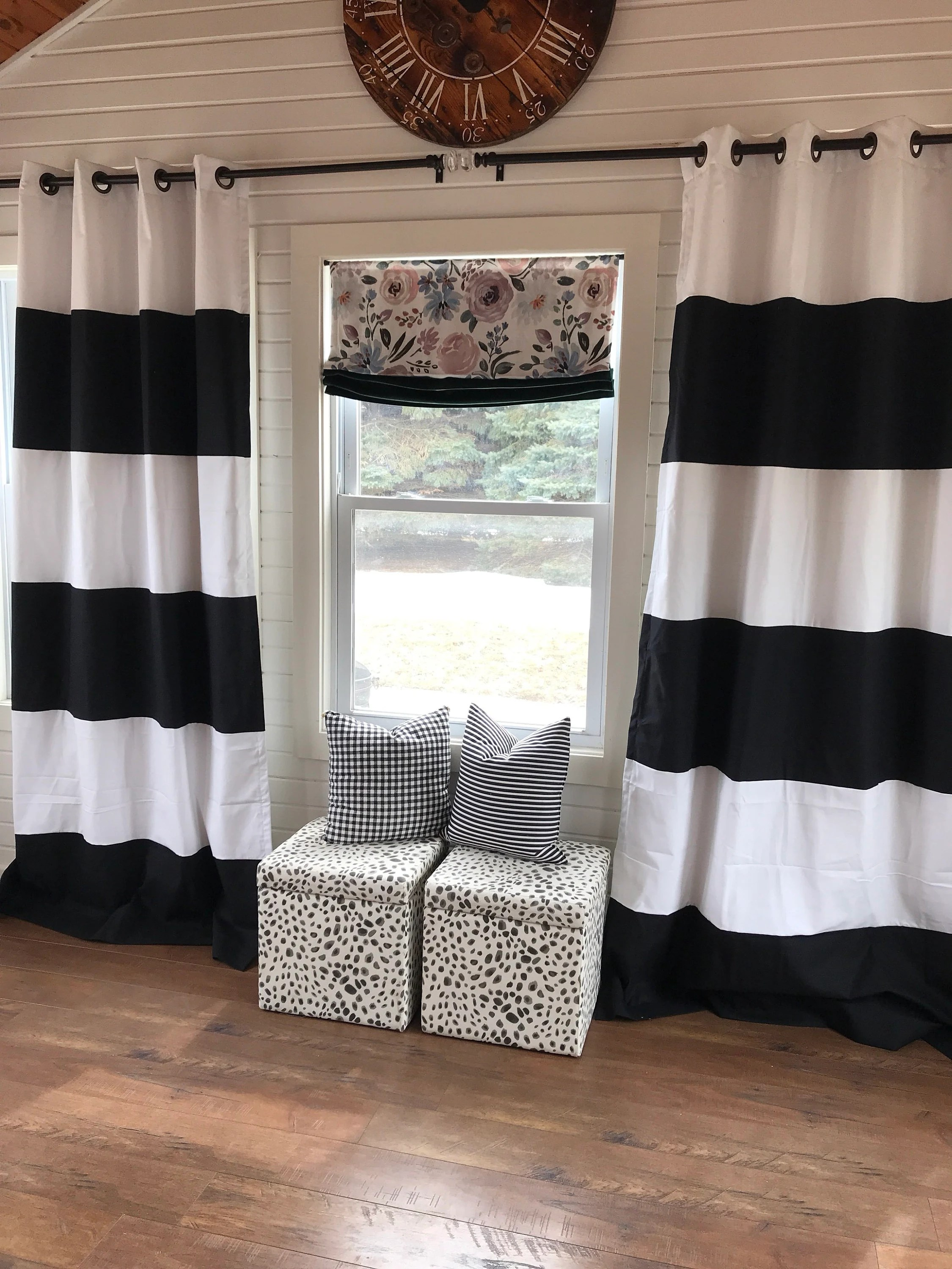 Black Stripe Curtains Custom Black And White Striped Curtains Stripes Color Blocked Nursery Curtains Striped Home Decor Black Striped Curtains Black Striped