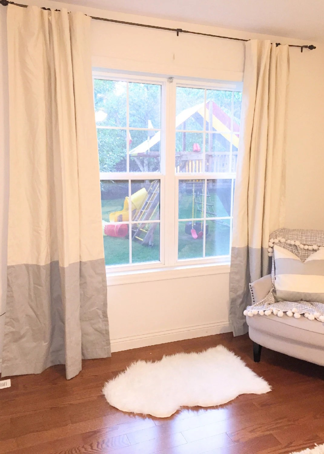 How To Make Curtain Lights Custom Ivory And Taupe Light Gray Striped Curtains Stripes Color Blocked Nursery Curtains Window Treatments Farmhouse Vintage