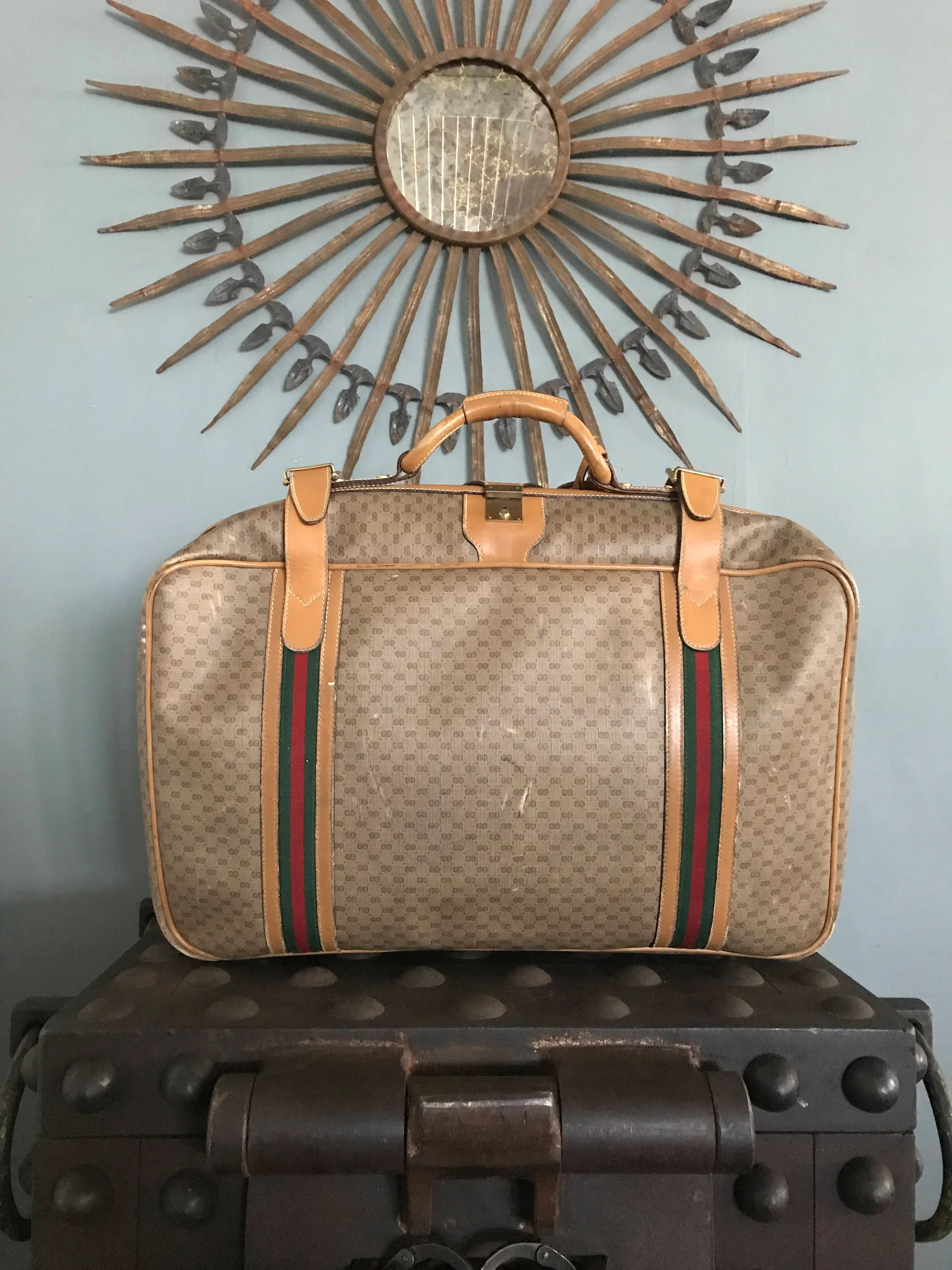 Etsy Vintage Gucci Authentic Vintage Gucci Luxury Suitcase Luggage Monogram Gg Canvas Leather