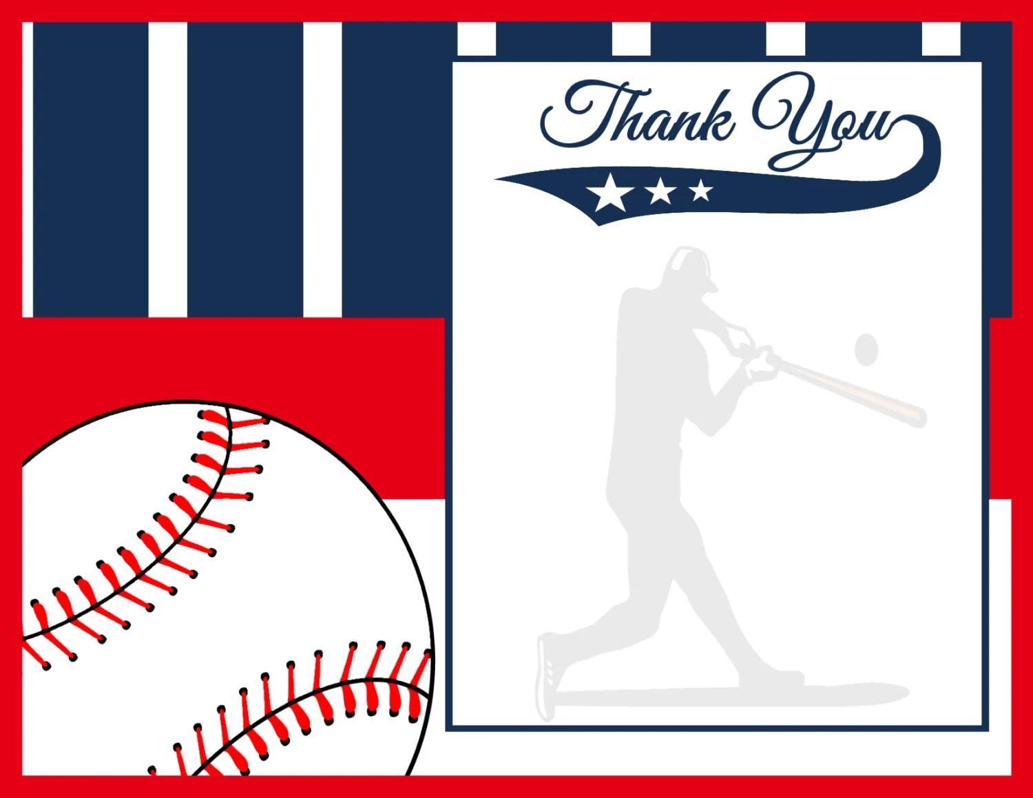 Baseball Thank You Card, Sports Thank You Note, Instant Download- Digital  File