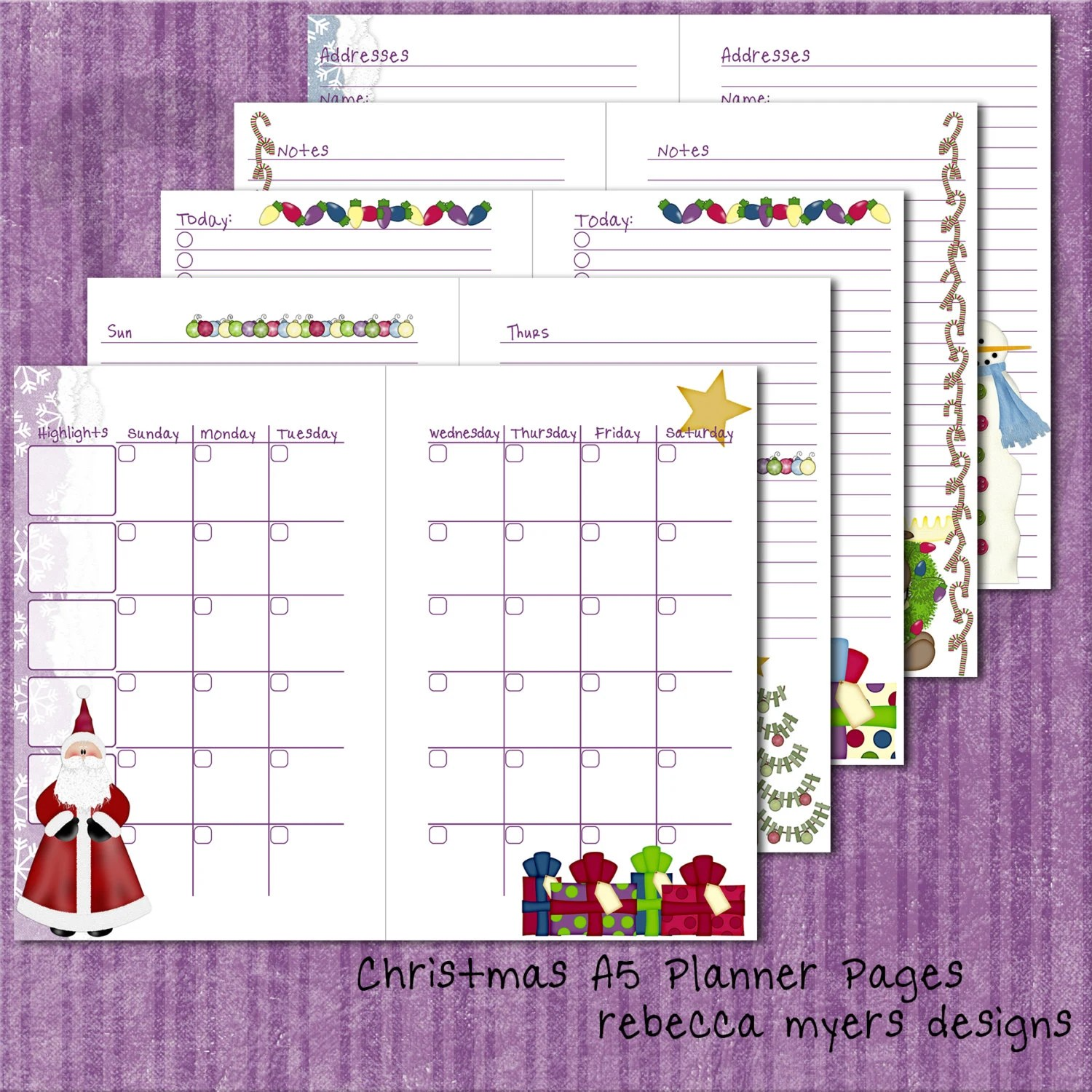 A5/Half Letter Christmas Filofax Franklin Covey Printable Etsy