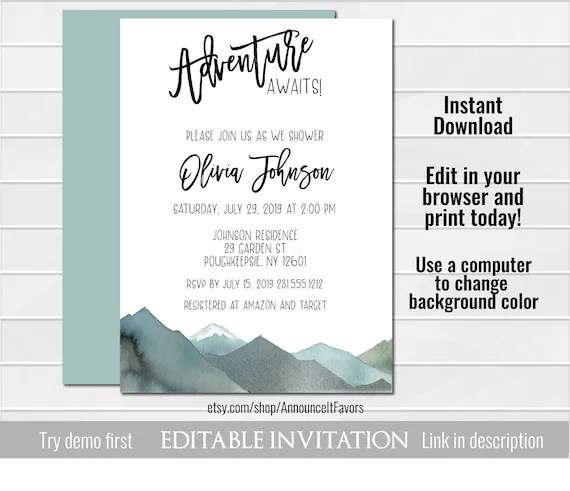 Mountain Baby Shower Invitation, Mountain Baby Shower Invites