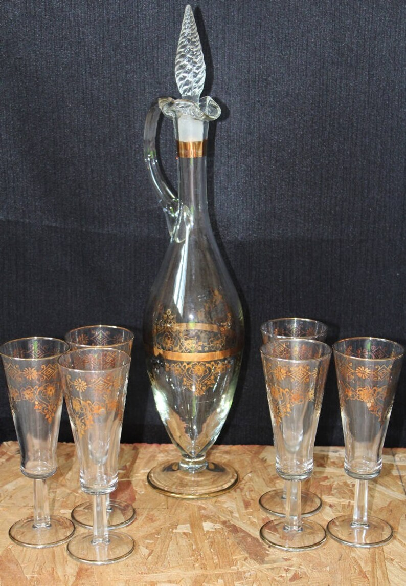 Decanter Wine Glas Vintage Italian Glass Decanter Set Decanter Wine Glasses Vintage Barware Bar Set 8 Piece Set Free Shipping
