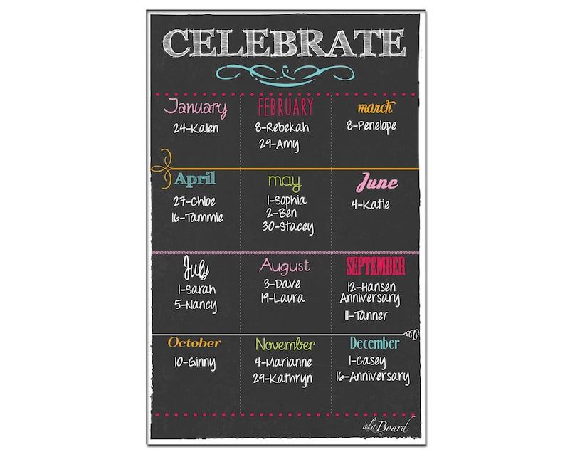 Perpetual Birthday Calendar Yearly Birthday Calendar Etsy