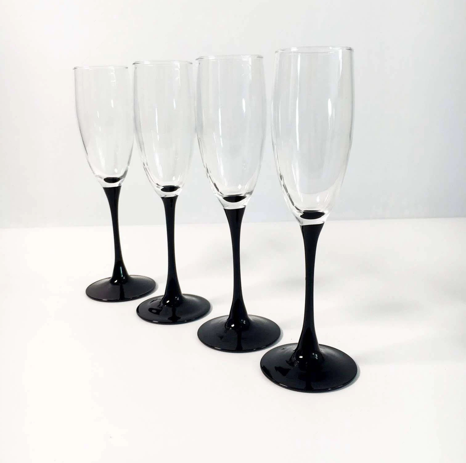 Wine Glasses With Black Stems Vintage Set Of 4 Luminarc France Black Stemmed Champagne