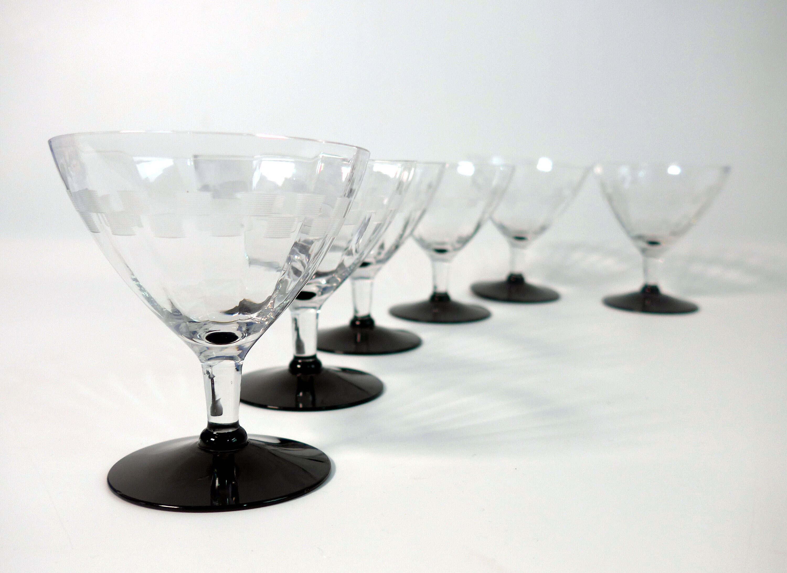 Wine Glasses With Black Stems Vintage Set 6 Unique Etched Champagne Wine Glasses 6