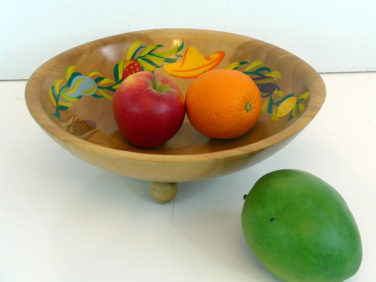 Colorful Fruit Bowl Vintage Handpainted Wood Fruit Bowl White Studios Round