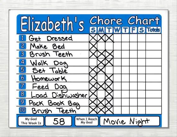 Chore Chart Shipped works like Dry Erase Board Set Chores Etsy