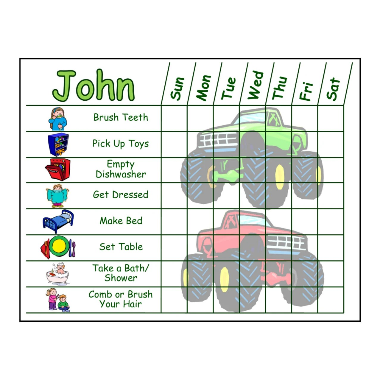 Childrens Chore Chart with Chore Pictures You pick the Etsy