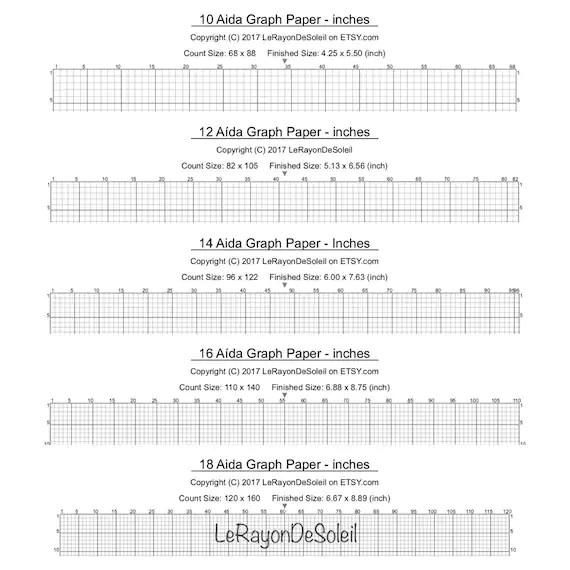 Aida 10, 12, 14, 16 and 18 cross stitch graph paper, grid template - digital graph paper