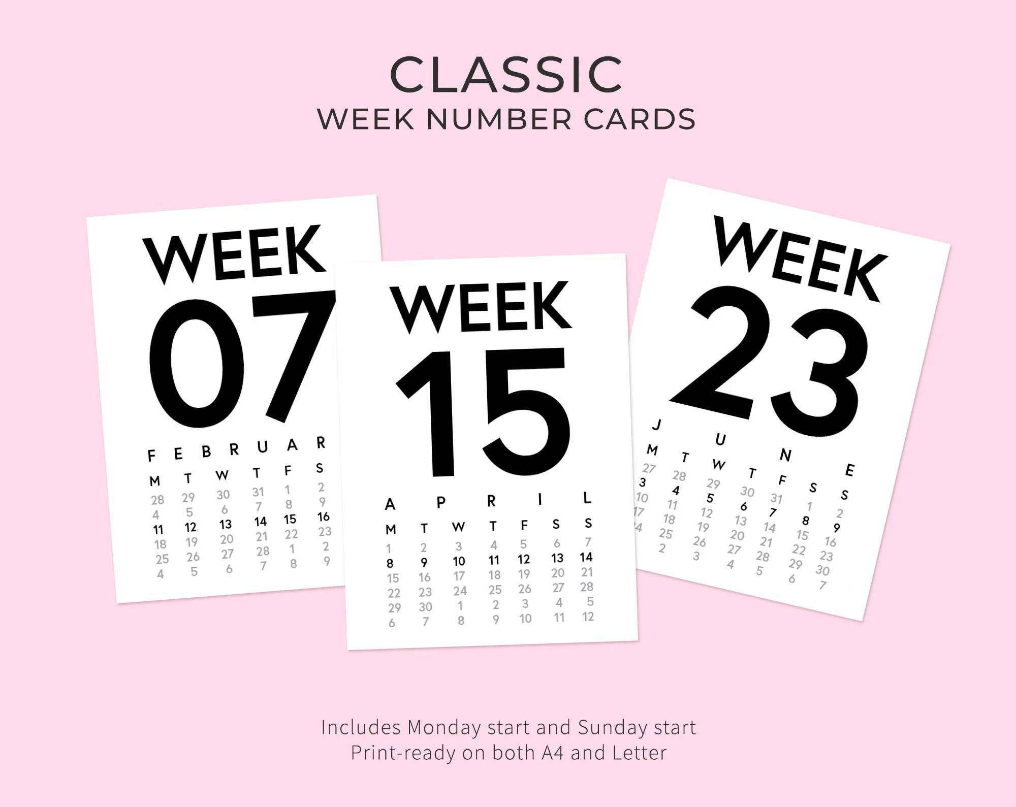 2019 Classic Week Number Cards Digital Journaling Card Etsy