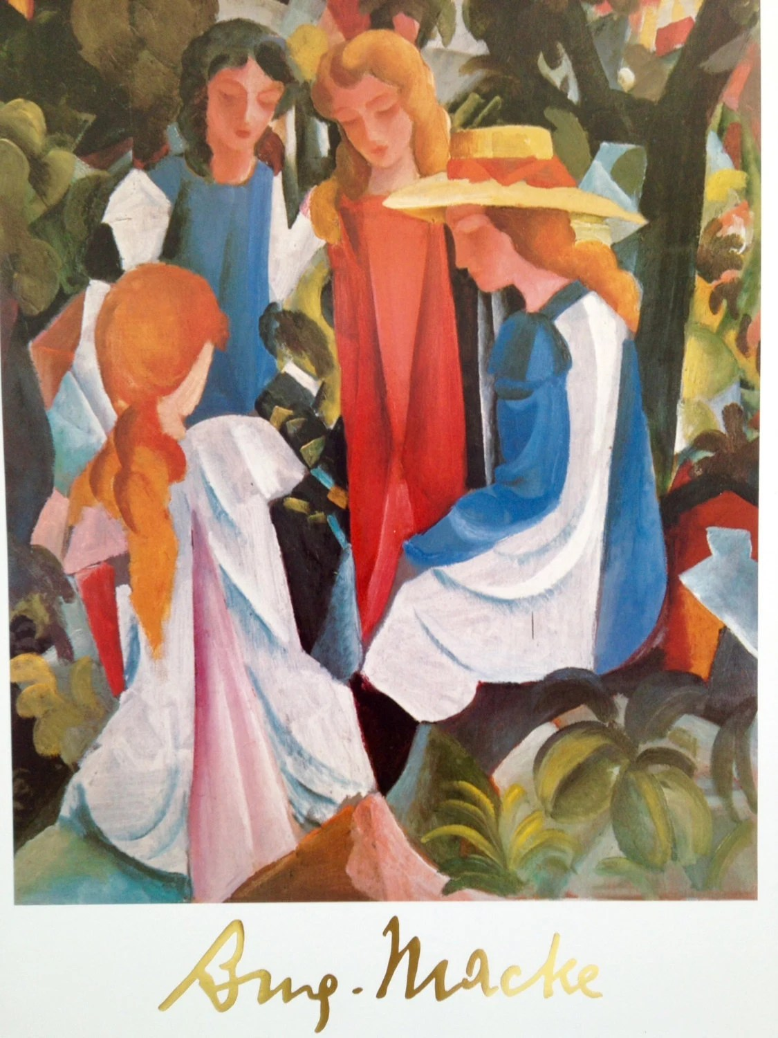 Della Pittura On Painting August Macke Quattro Ragazze Four Girls 1912 1913 Maestro Della Pittura Series N 301 Printed Copyrighted In Italy Vintage Print Poster