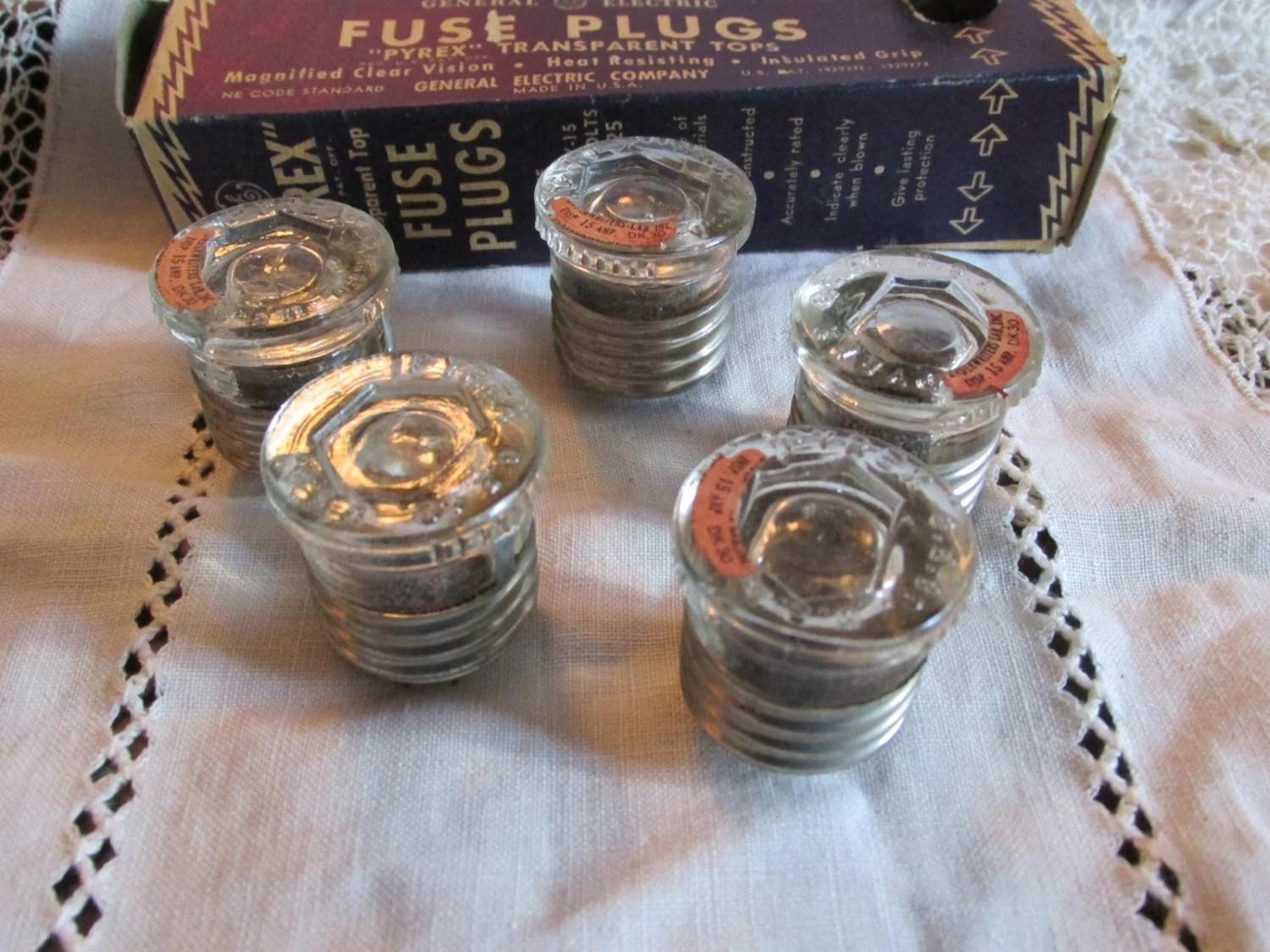 Vintage 1930s Box of 5 PYREX FUSE PLUGs GE 15 Amp General Etsy