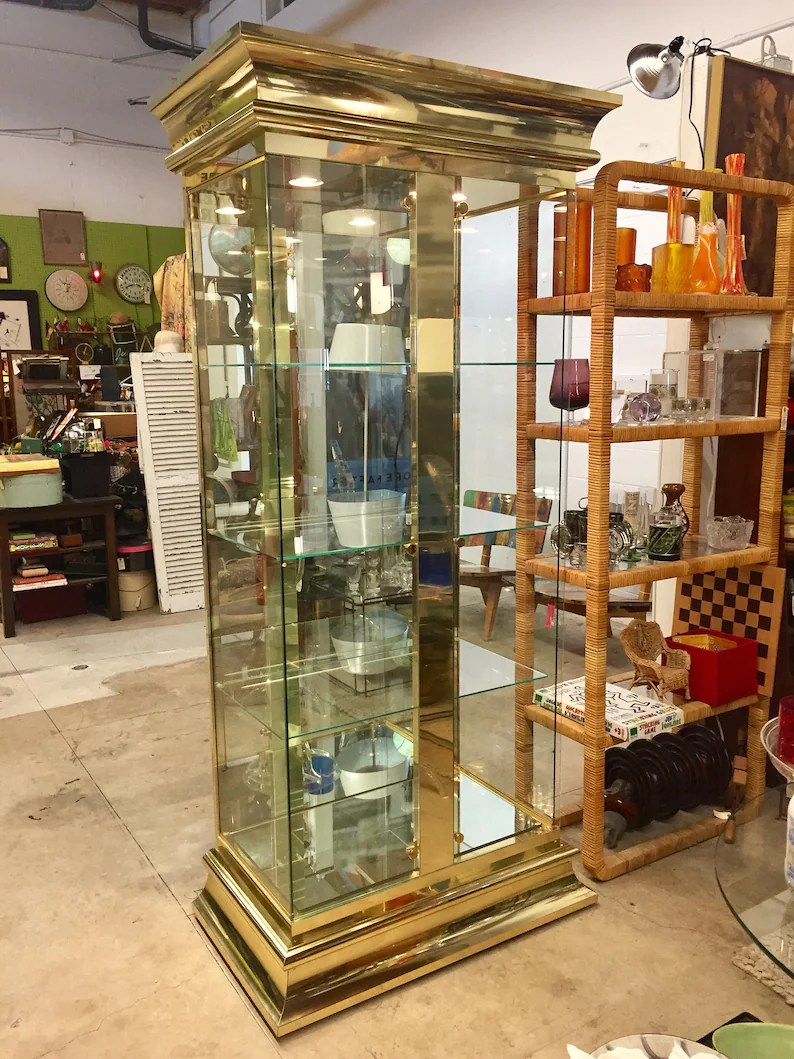 Vintage Vitrine Vintage Mastercraft Brass And Glass Lighted Vitrine Curio China Cabinet