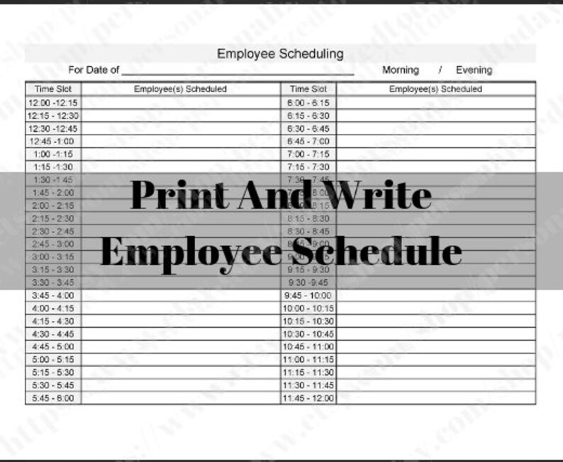 Printable Employee Work Schedule 12 Hours or 24 Hours 15 Etsy