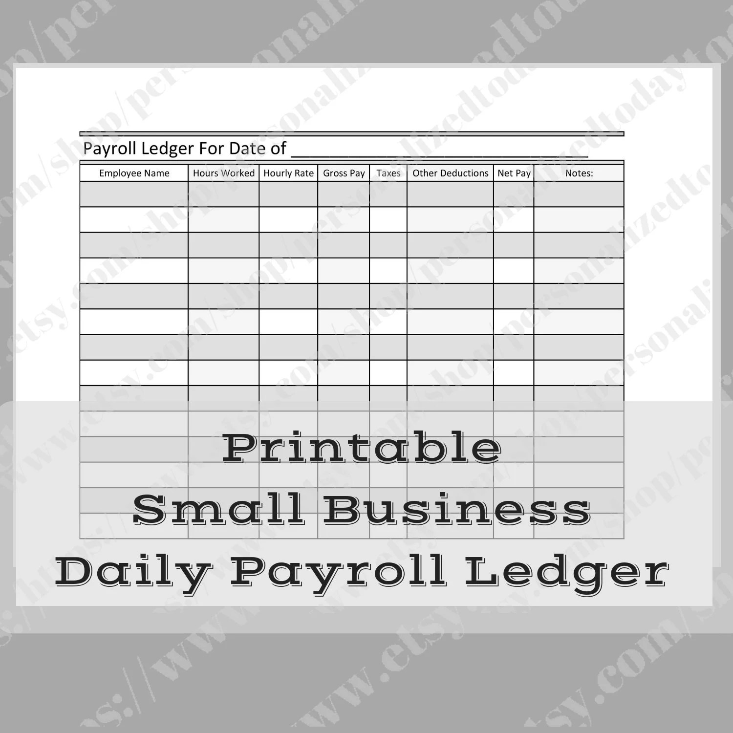 Small Business Daily Payroll Tracker Ledger Keep Record of Etsy