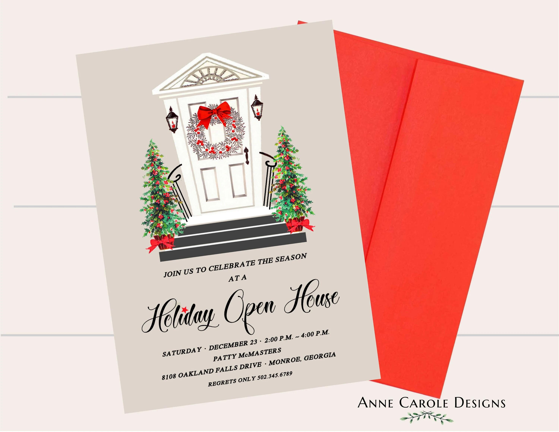 Holiday Open House Invitation Holiday Party Invitation Open Etsy