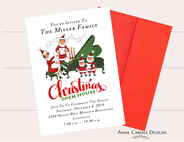 Family Christmas Party Invitation Holiday Open House Etsy