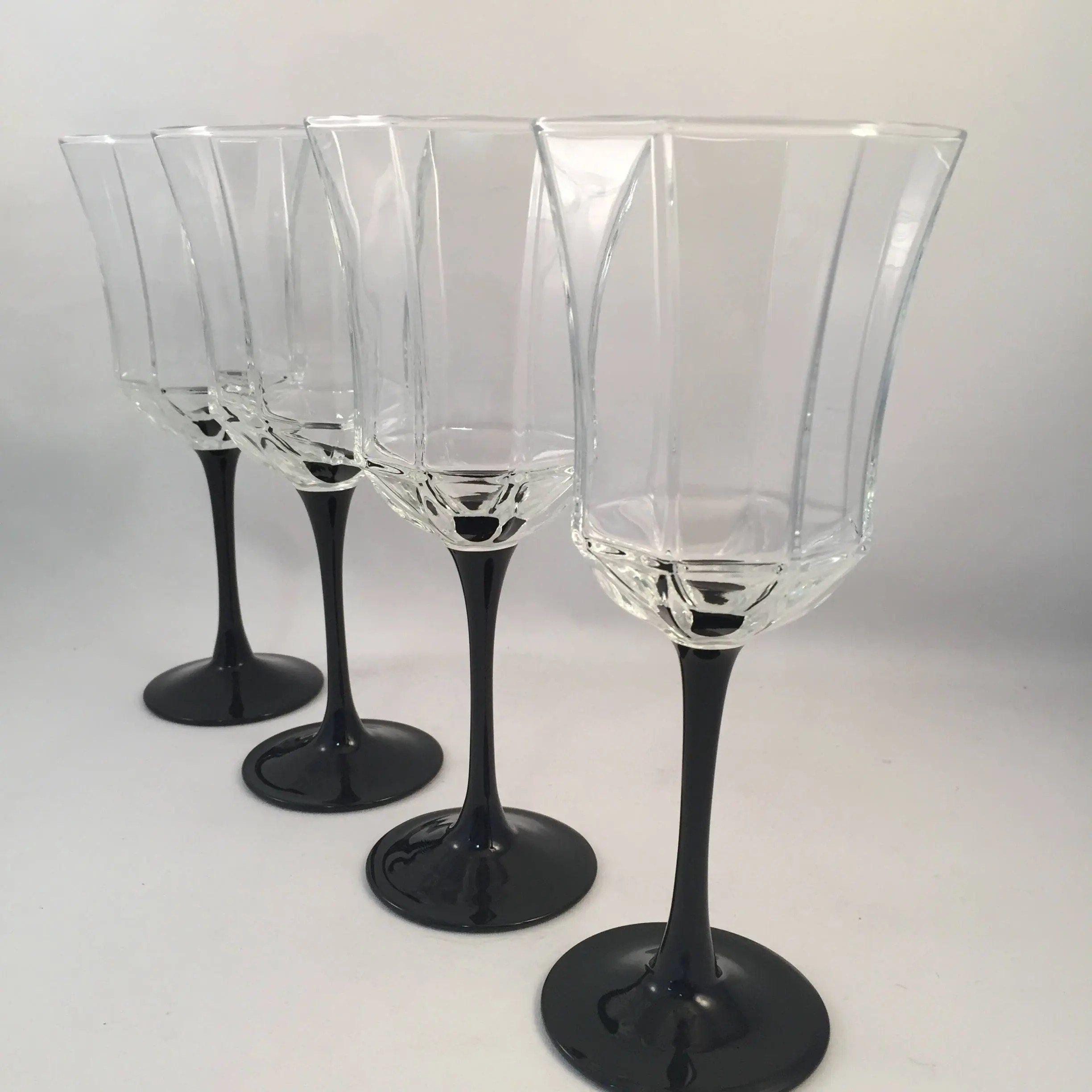 Luminarc Glass Set Of 4 Luminarc France Octigon Black Stem Glasses Unique Design Holds 8 Oz Beautiful Black Stemmed Glasses Luminarc Black Stem Glass