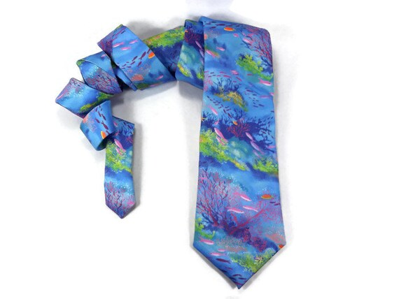 Coral Reef Tie Aqua Blue Ocean Nautical Tie Oceanography