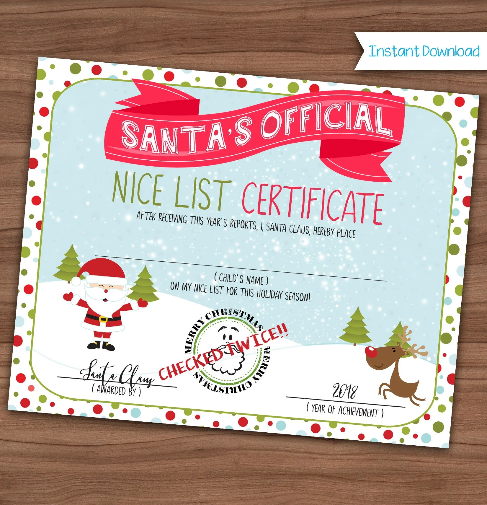 Nice List Certificate Santa Claus Making A List Checking Etsy