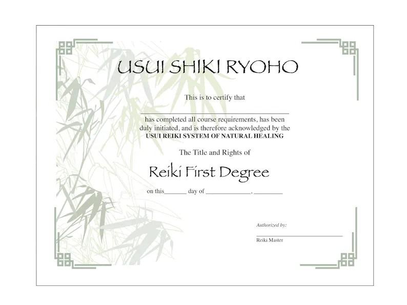 Two Usui Reiki I Certificate Printable Templates Etsy