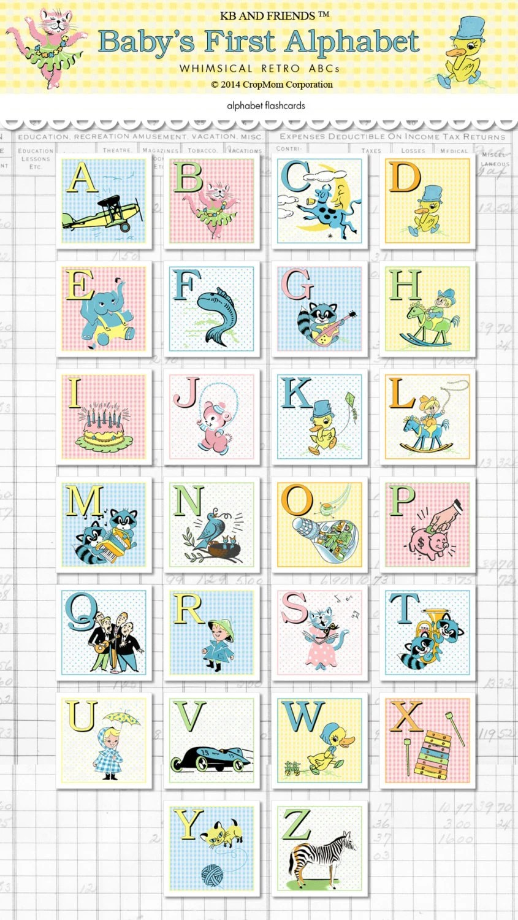 Digital baby ABC 2 square flashcards / alphabet flash Etsy