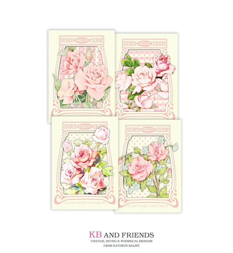 Printable shabby chic roses seed packets / vintage cards / Etsy