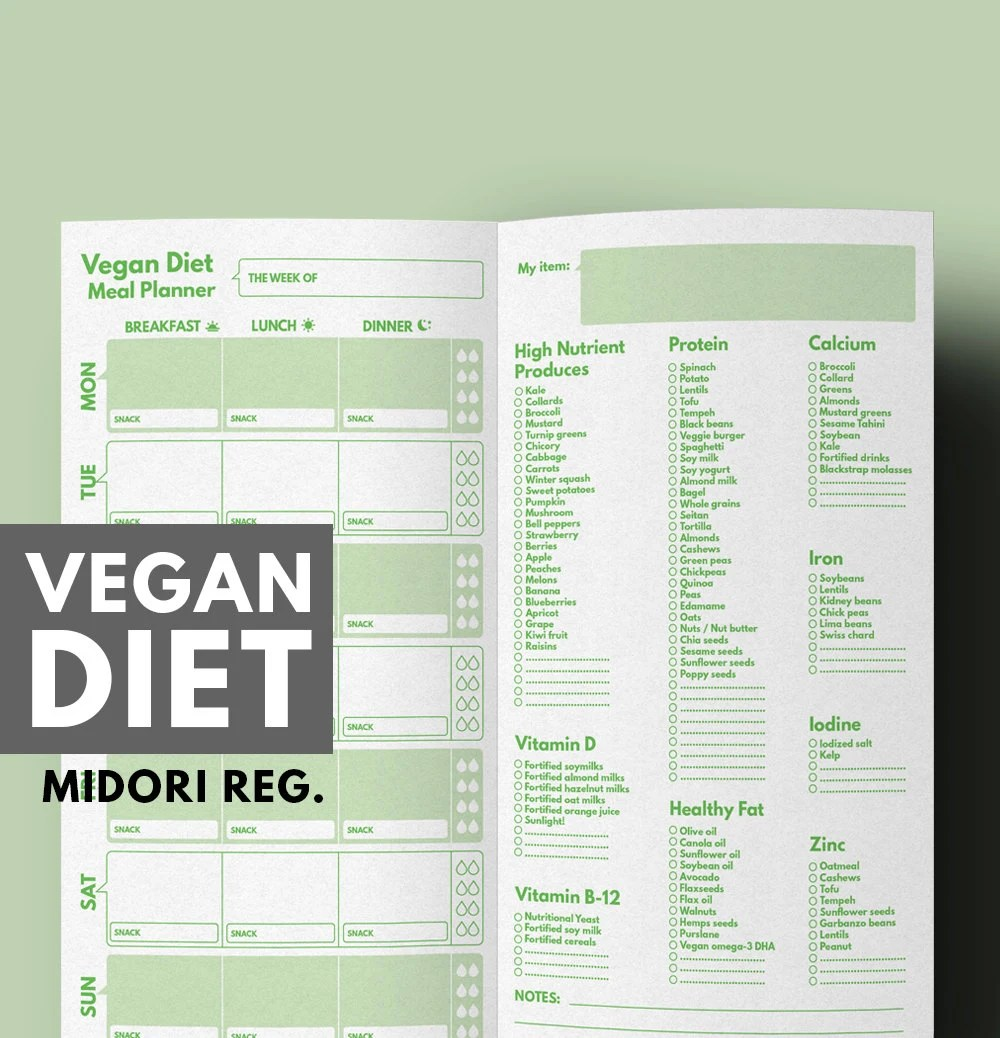 Weight Loss Planner Vegan Diet Meal  Grocery List for Vegan Etsy