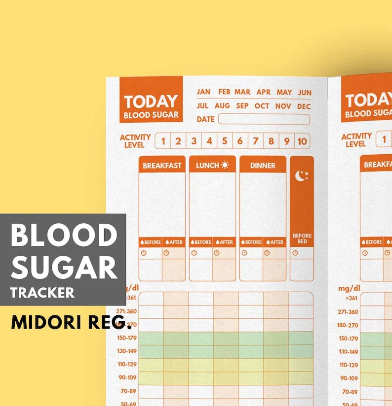Blood Sugar Tracker TN insert Type 1 Diabetes Planner Blood Etsy