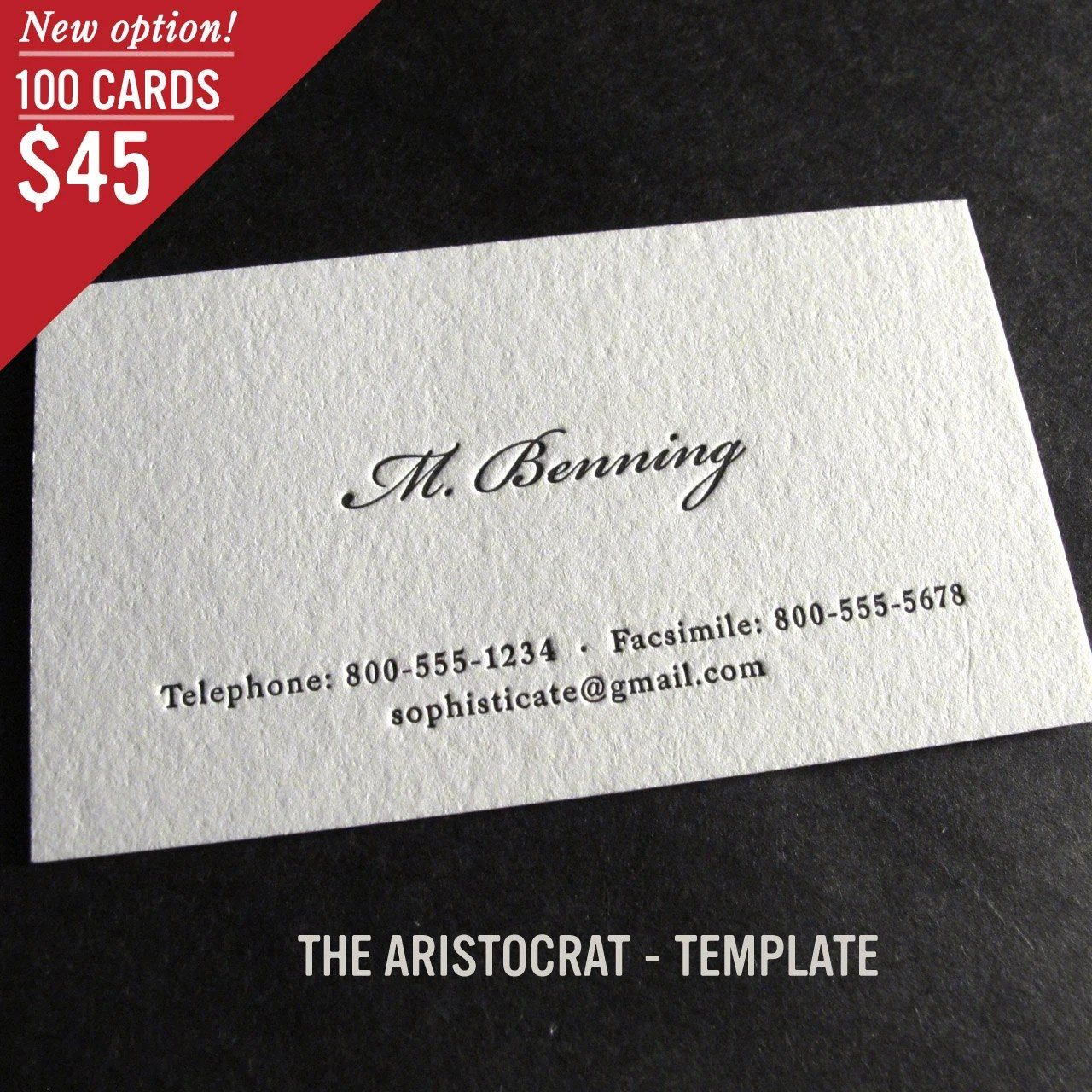 100 Custom Letterpress Business Cards The Aristocrat Etsy