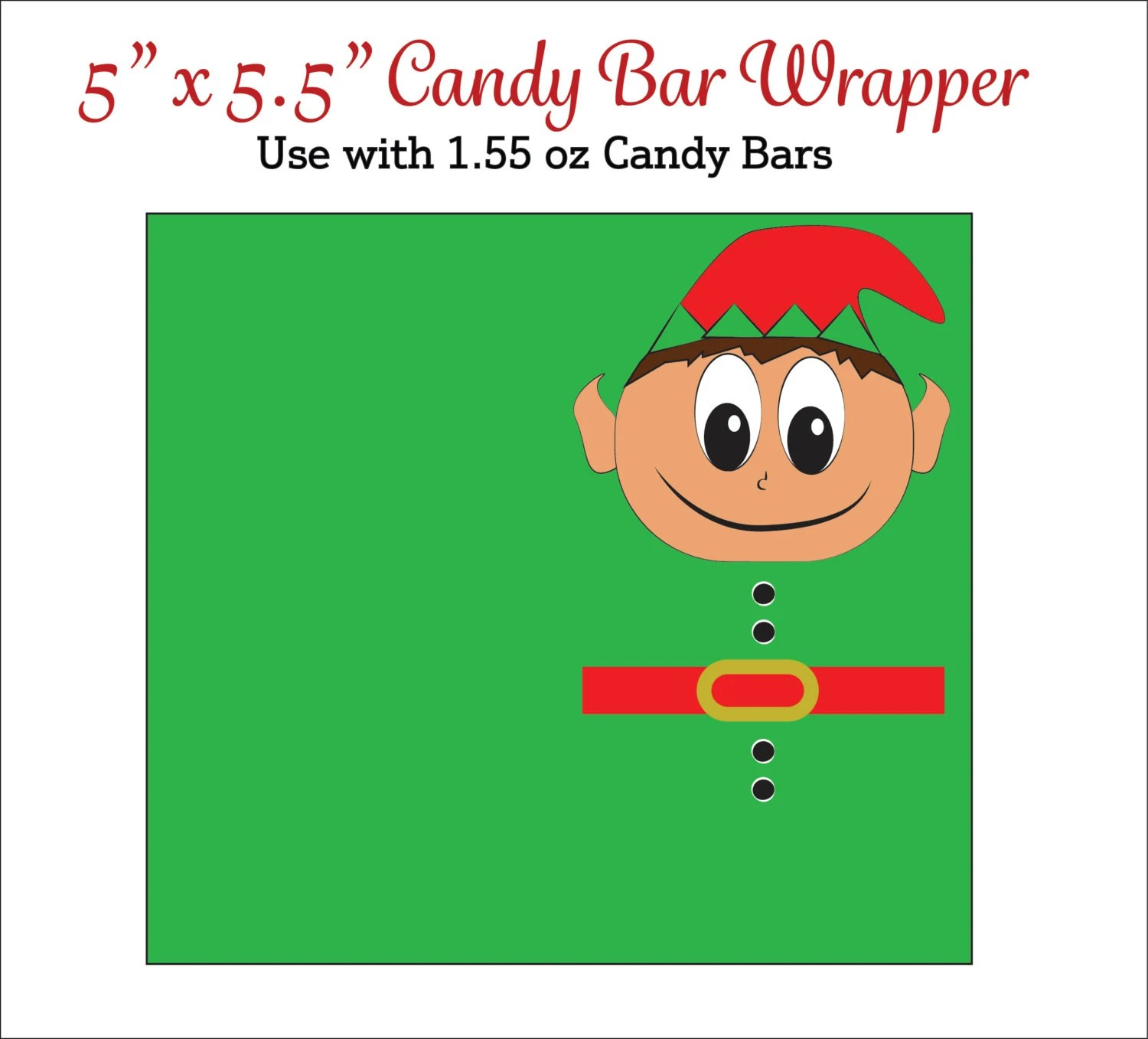 Elf Candy Bar Wrappers Printable Elf Candy Wrappers Etsy