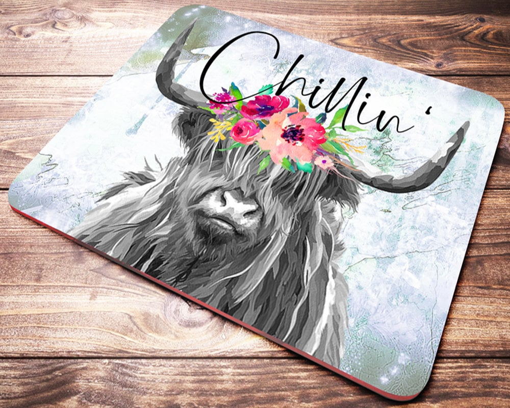 Matching Office Desk Accessories Funny Cow Mouse Pad Chillin Office Desk Accessories Cow Gifts For Her Office Decor Cow Mousepad Desk Accessories Farmer Gift