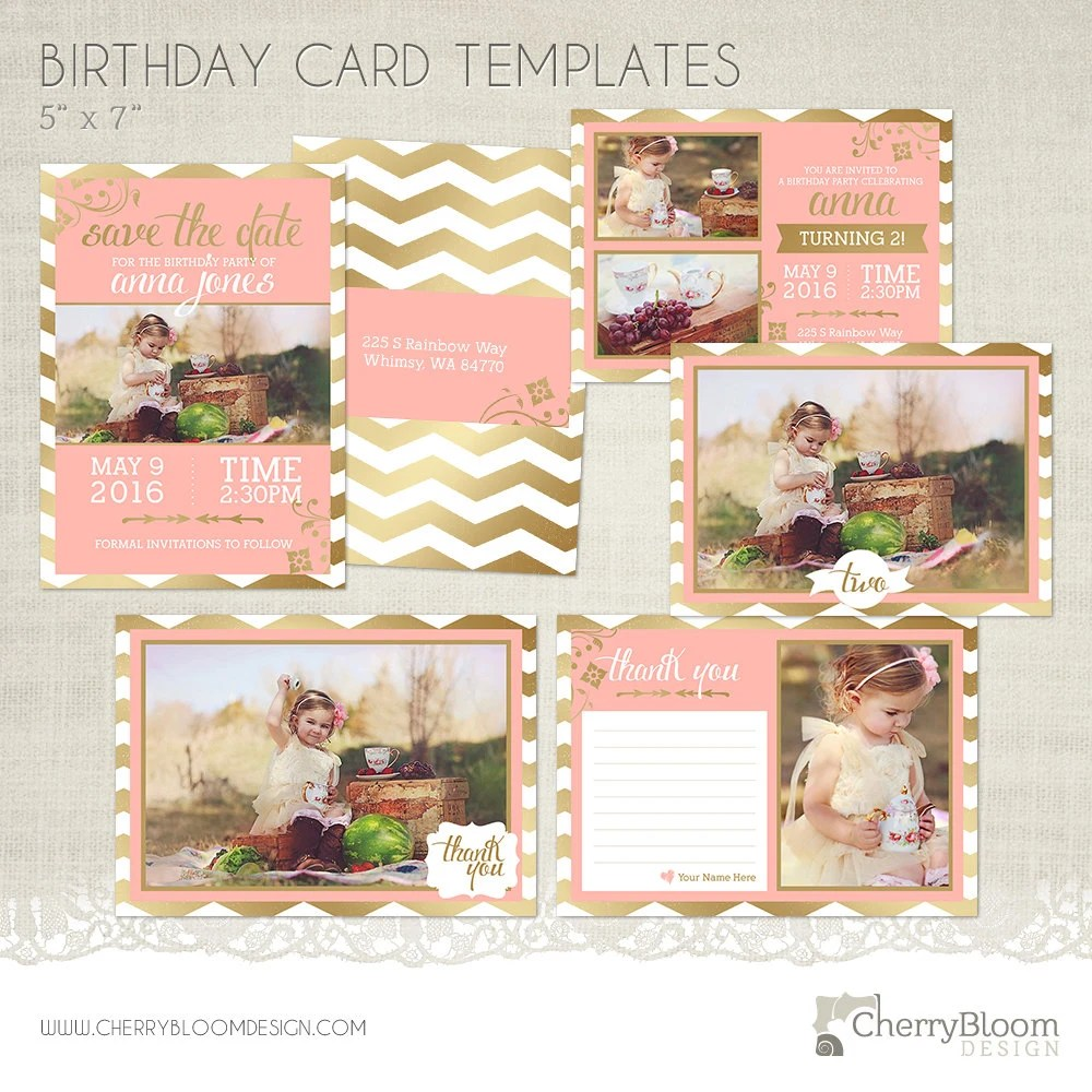 Birthday Card Photographer Template Bundle Save the Date Etsy