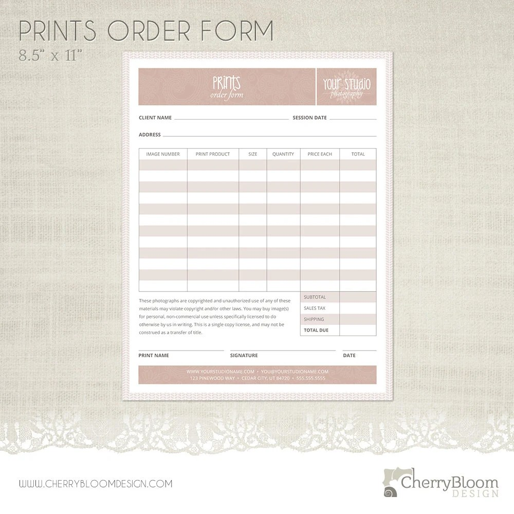 Prints Order Form Template for Photographers Photographer Etsy