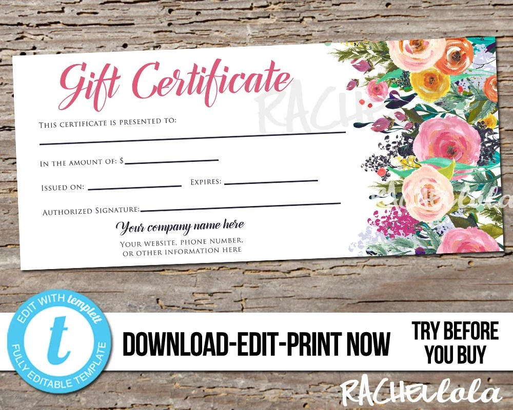 Editable Custom Printable Gift Certificate template, Floral