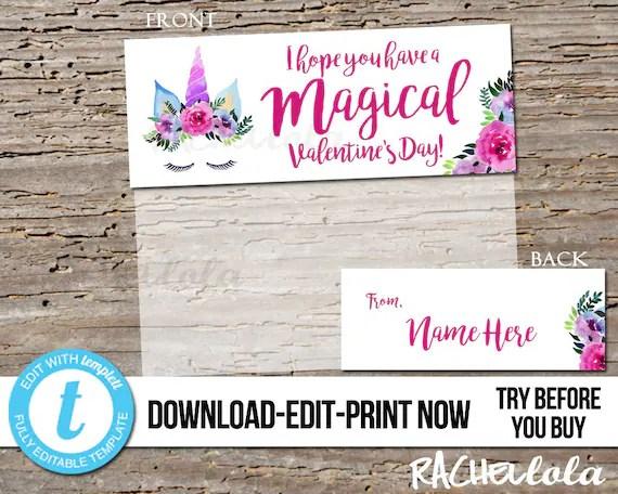 Editable Custom Flower Unicorn Valentine card kids Printable Etsy