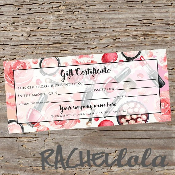 Custom, Red makeup, printable Gift Certificate template, spring