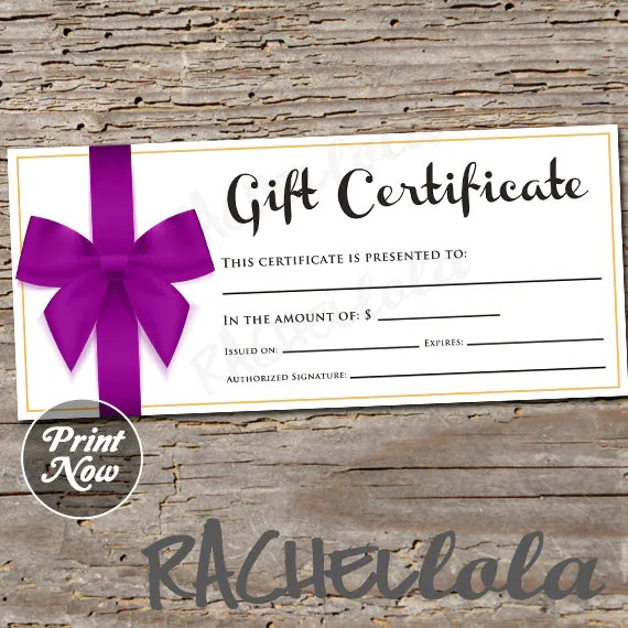 Purple Bow, printable Gift Certificate template, spring, direct