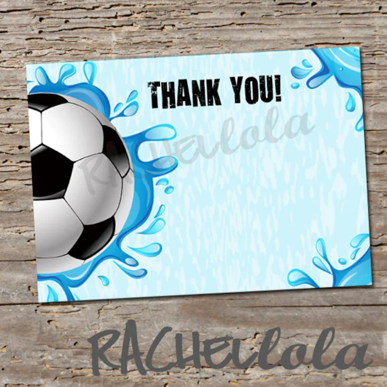 Soccer Pool Party Thank You notes Printable card Birthday Etsy