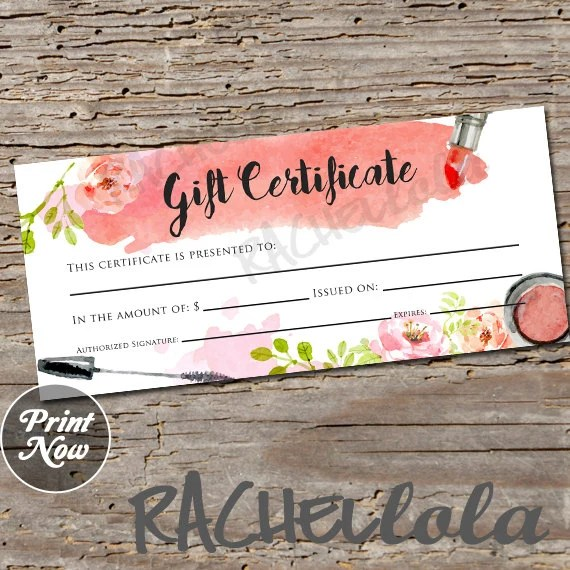 Watercolor makeup printable Gift Certificate template spring Etsy