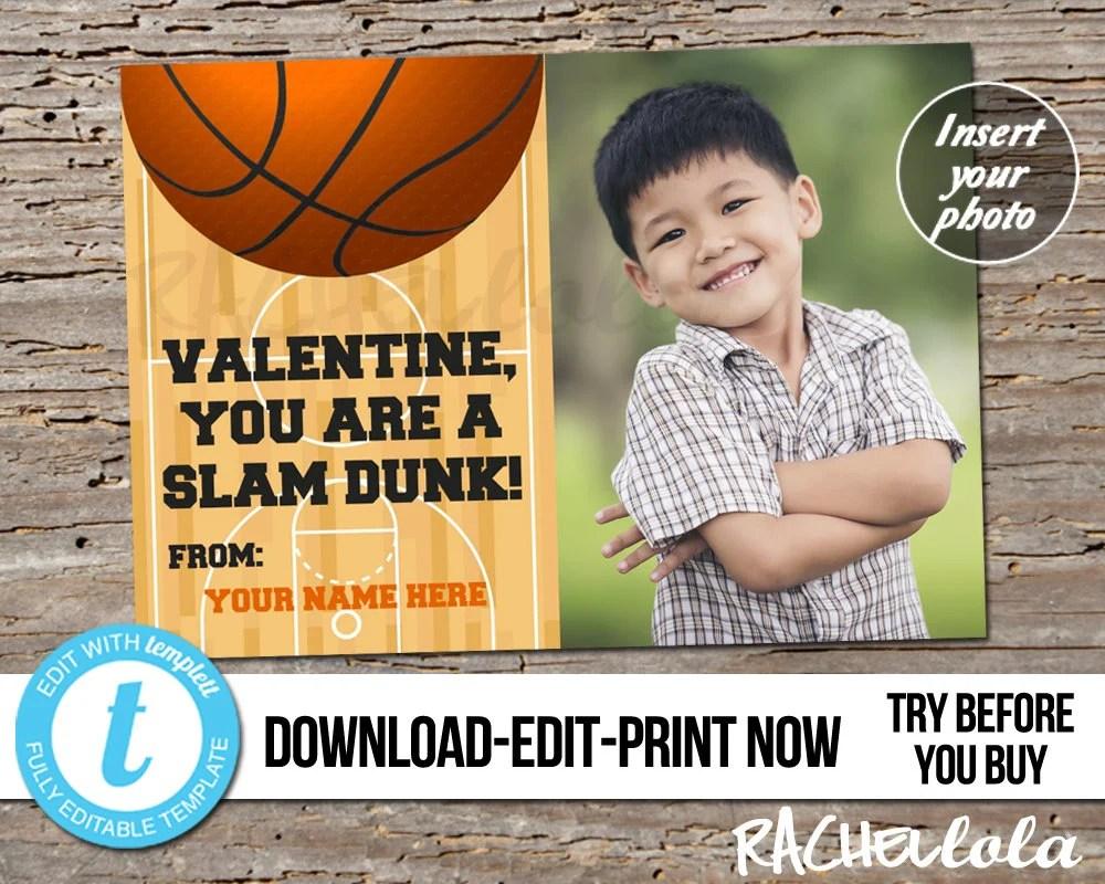 Editable custom Basketball Photo Valentine\u0027s day card for kids