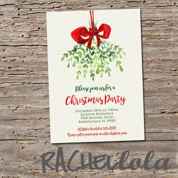 Mistletoe printable Christmas dinner party invitation, Holiday