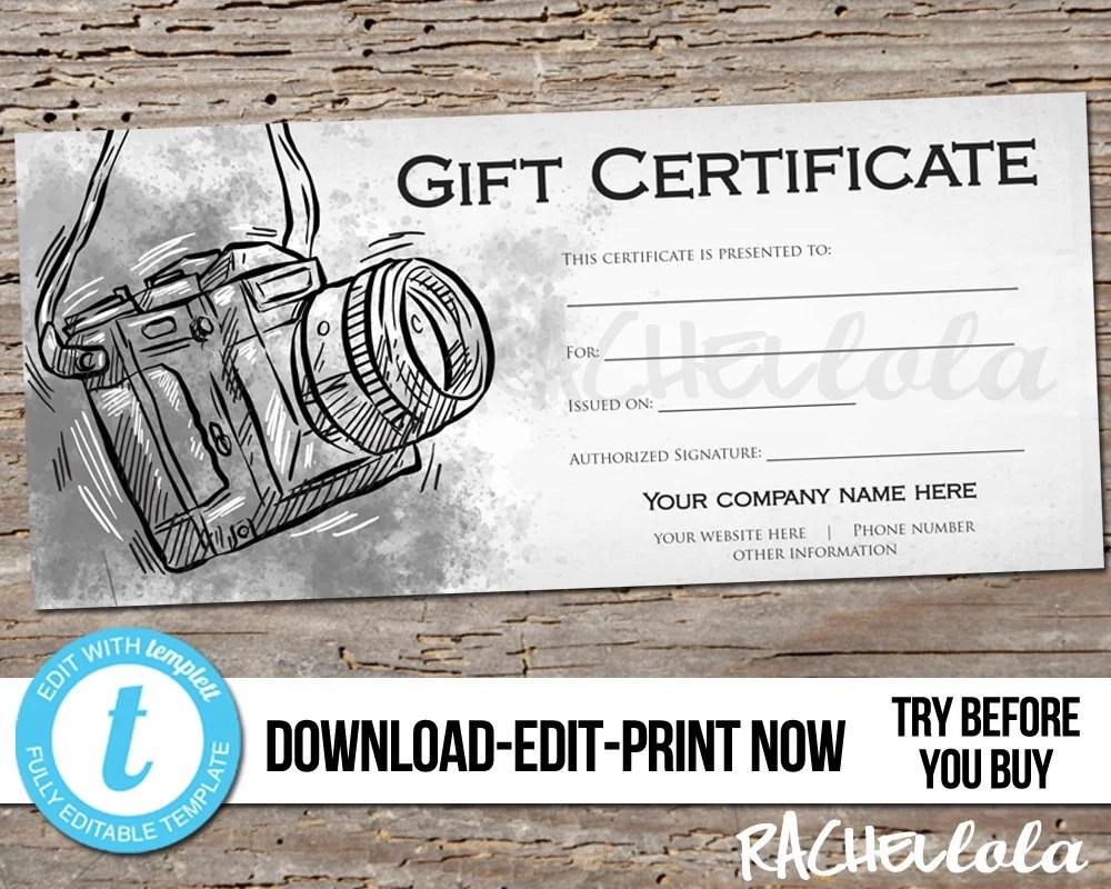 Editable Custom Printable Photography Gift Certificate template
