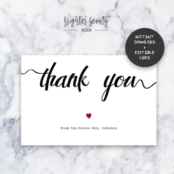 Bridal Shower Thank You Card Wedding Thank You Card Etsy