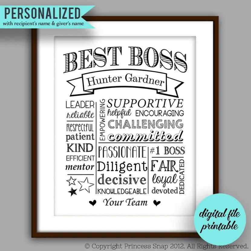 Boss Gift Best Boss Printable Boss Christmas Boss Etsy