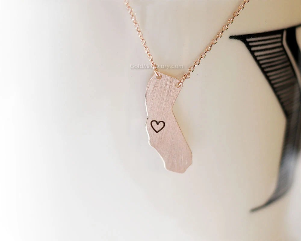 California State Bar California State Necklace In Rose Gold Ca Rose Gold Necklace State Bar Necklace Necklaces For Women Simple Dainty Necklace