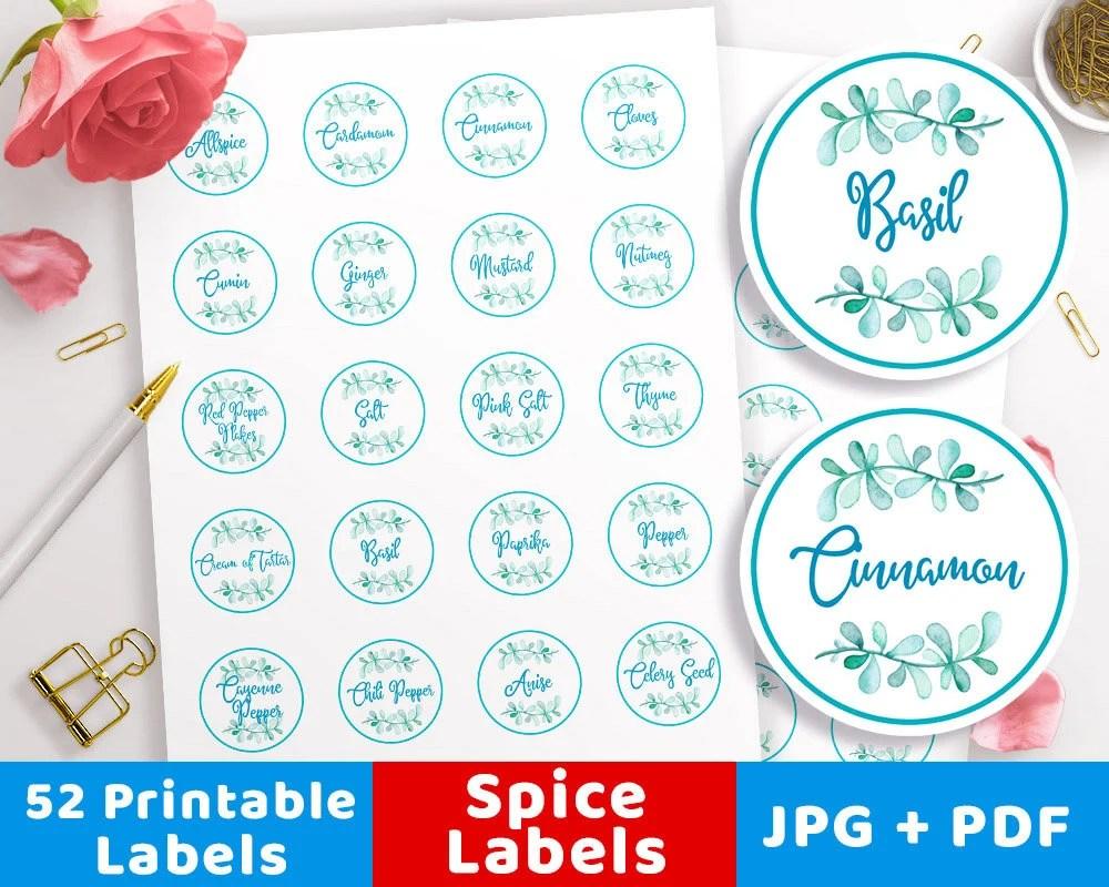 Printable Spice Labels 15 Watercolor Spice Jar Label Etsy