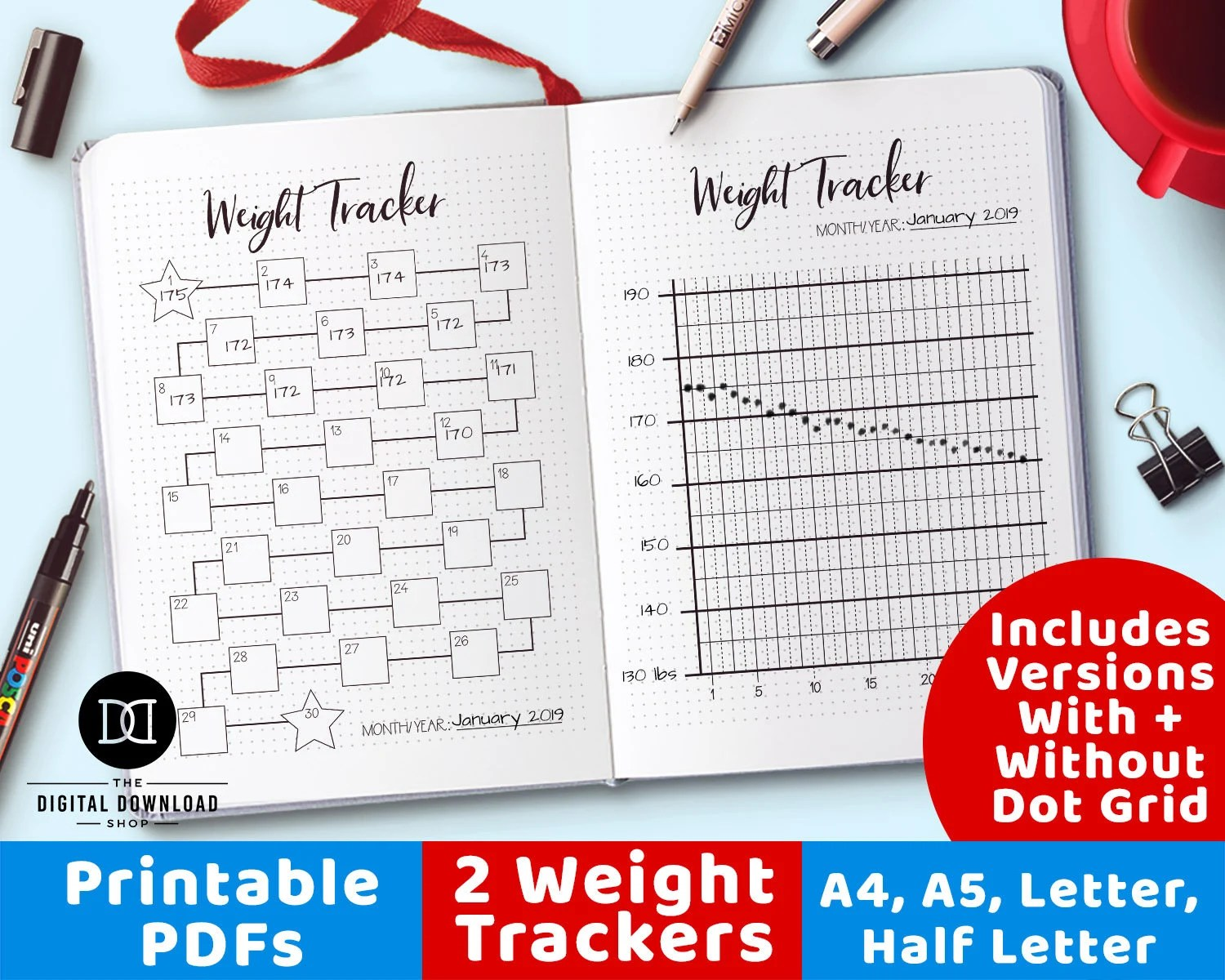 2 Weight Tracker Printables Bullet Journal Weight Loss Etsy